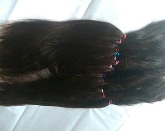 Reborn / BJD / MSD / Combed Doll Hair / Re root / Dark Mahogany Brown Suri Alpaca / Wig    (229)
