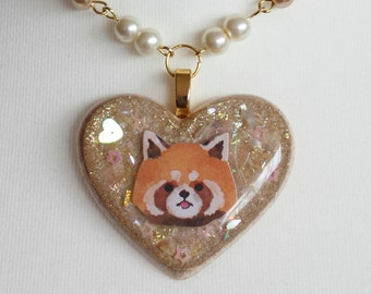 Red Panda Heart Resin Necklace