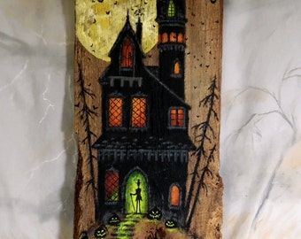 """Mystery Manor, haunted house on barnwood, hand painted, 7 1/2"""" x 20"""""""