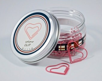 Heart Paper Clips - Pink - 20 Pieces in Storage Jar