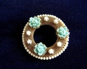 Bridal Bouquet Brooch Wreath with Blue Flowers Something Old & Blue
