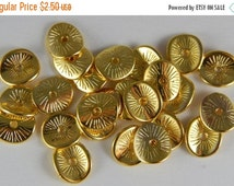 CLEARANCE 25 Pieces of Metal Jewelry Beads - Spacer, Curved Oval Shape, Potato Chip Crisp, Bright Gold Color, 10mm, Etched Line Designs, Con