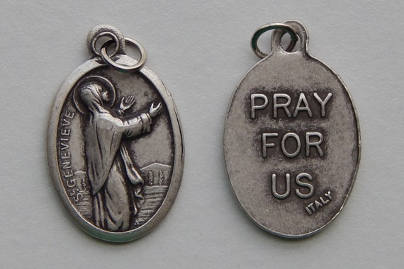5 Patron Saint Medal Findings - St. Genevieve, Die Cast Silverplate, Silver Color, Oxidized Metal, Made in Italy, Charm, Drop, RM410