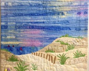 beach landscape art quilt