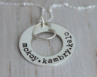 Stamped names necklace | 3 names | three names | mommy necklace | kids names necklace | mothers jewelry | name tag necklace | washer pendant