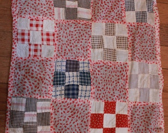 Antique Handmade Baby Doll Size Childrens Toy Patchwork Quilt Old Fabrics