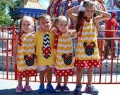 Sa[e Minnie Mouse dress 15% off coupon is til2016 Yellow Chevron pillowcase dress appliqued size 3,6,9,12,18 month 2t,3t,4t,5t,6,7,8,10,12