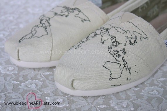 World Travel TOMS Shoes with Fill In Map by ibleedheART on Etsy – Fill In Travel Map