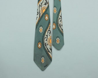 1950s tie • winding ABSTRACT screen printed rayon necktie