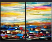 """Huge original modern art Oil painting Abstract Painting Modern Impasto Texture canvas by Tim Lam 69"""" x 30"""""""