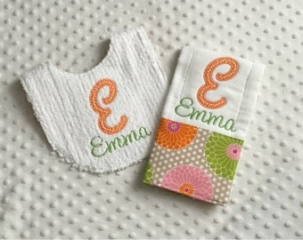 Baby Girl Personalized 2 Piece Gift Set  - Bib and Burp Cloth- Orange Pink Modern Florals