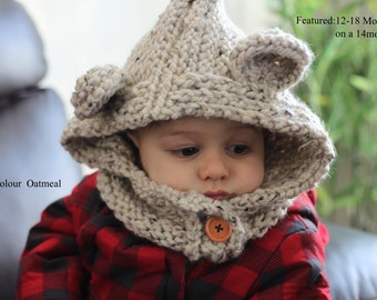 Knit Bear with Buttoned Cowl