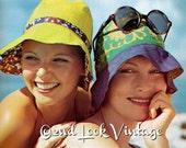 Vintage Sewing Pattern 1960's Mod Reversible Sun Hat Summer Digital Download PDF