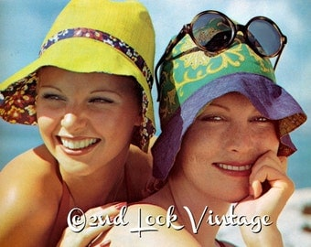 Vintage Sewing Pattern 1960's Mod Reversible Sun Hat Summer Digital Download PDF