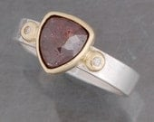 Brown, trillion shaped, rose cut diamond ring in 18 karat yellow gold and sterling