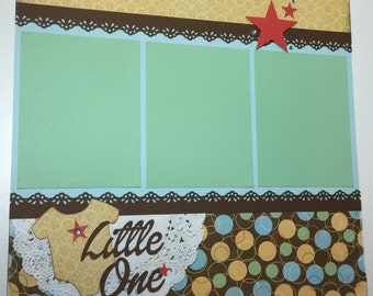 Baby Boy Scrapbook Page, Little One Scrapbook Page, 12 x 12, Baby Boy Album Page