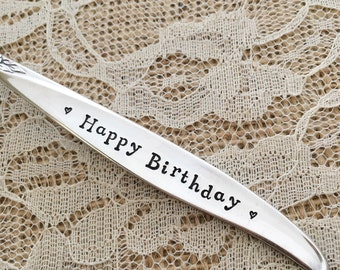 Happy Birthday fork... sweet vintage keepsake tradition, hand stamped. Winsome