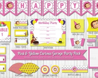 Pink Yellow Polka Dot, Grey Chevron Curious George Girl Birthday, Printable Party Pack, Birthday Party Decorations, DIY Party