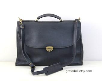 Vintage Jack Georges Black Color Leather Briefcase with Original Shoulder Strap,