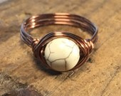 size 9.75 , 9 3/4 - rustic white Howlite stone , antique copper wire wrap ring - wrapped gemstone women men unisex boy girl jewelry