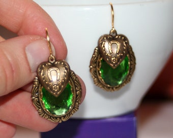 Vintage faceted Peridot glass Heart horseshoe charm Victorian artisan earrings