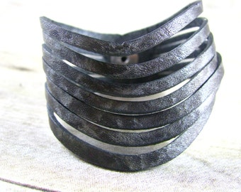 Leather Bracelet - Cuff - Sliced Leather Cuff - Black And Silver Cuff - Leather Jewelry