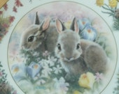 "Backyard Buddies ""April Outing"" Bunny Rabbit Plate by Sarah Wood for the Crestley Collection"