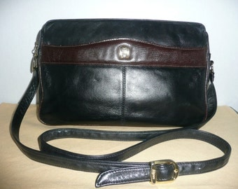 Etienne Aigner Two Tone Black and Brown Leather Cross Body Shoulder Bag with Adjustable Strap