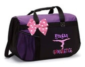 Personalized Black & Purple Duffel Bag w/Bow Dance Gymnastics Tap Jazz Cheer