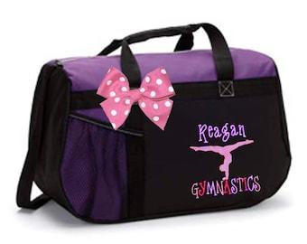 Personalized Black & Purple Duffel Bag w/Bow Dance Gymnastics Tap Jazz Cheer