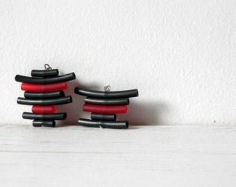 Black red rubber earrings - minimalist abstract geometric dangle earrings stripes boho gypsy earrings