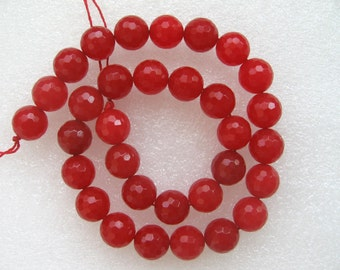 Full Strand Beautiful Red Jade Faceted Round Beads 12mm