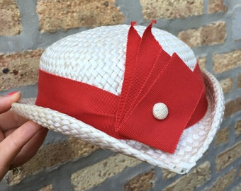 STRAW HAT - small and JAUNTY - white with red ribbon - beach or picnic - summer