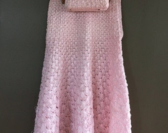 Raffia Skirt and matching purse light baby pink shell pattern matching set summer knit side zipper twirly skirt Charlet Bag purse size S