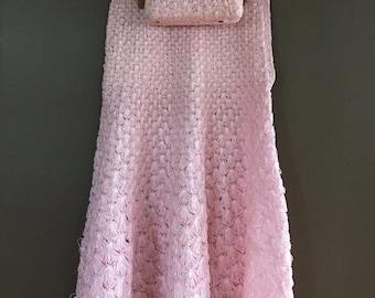 Raffia Skirt and matching purse light baby pink shell pattern matching set summer knit side zipper twirly skirt Charlet Bag purse size S