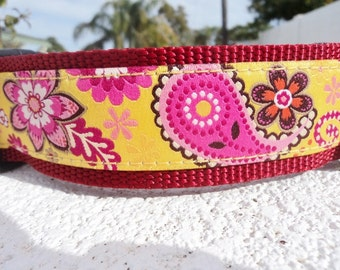 """Large Dog Collar 1.5"""" wide Side Release or Martingale collar style Paisley Gold / No 1"""" width collar"""