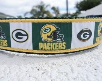 "Dog Collar Green Bay Packers 1"" wide Side Release or Martingale collar adjustable / coming soon in 3/4"" wide - nfl, sizes s-xl"