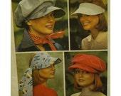 70s Hats Pattern, Railroad Cap, Visor, Soft Baggy Crown, Tie Scarf, Brim, Cargo Purse, Simplicity No. 6430 and Butterick 3779