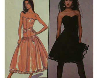 """Strapless Gown Pattern, Low Waist, Fitted Bodice, Boned, Princess Seams, Full Skirt, Designer Caroline Charles - Style 1198 Size 14 Bust 36"""""""