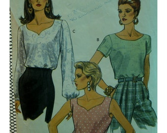 Detailed Neck Blouse Pattern, Pullover, Scoop/Heart Shaped, Sleeveless/Short/Long Sleeves, Cuffs, Vogue No. 8294 Size 8 10 12