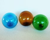 Three 3 inch Glass Fishing Float Balls in Blue, Green, and Brown, Hand Blown Hollow Glass Balls 80mm Blown Glass Orbs