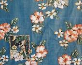 12 yards of Hawaiian Themed Fabric Hawaiian Girl Fabric Blue Hawaiian Hibiscus Plumeria 60 Inches Wide