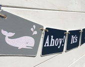 BABY BOY Banner, Ahoy, nautical baby shower, navy and teal, whale baby shower, baby boy, nursery decoration, Baby shower garland