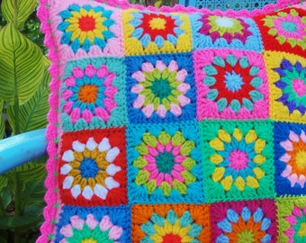 Granny square crochet pillow sham