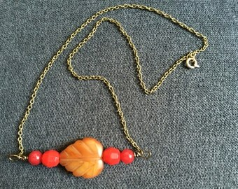 Fall Foliage Stone Beaded Necklace
