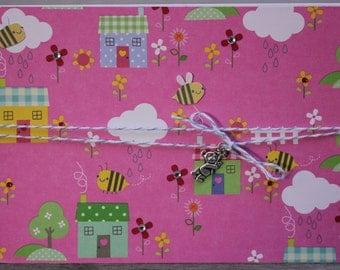 Birthday Card, Little Bumble Bee, Nursery Rhyme Blank Notecard, Toddler Birthday Card, Little Girl Birthday Card