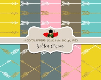 Golden Digital Papers for personal and commercial use - Golden Arrows
