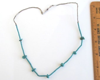 """Southwestern Turquoise Stone & Silver Tube Bead Necklace - Vintage Native American, 19"""""""