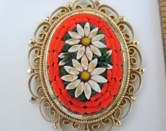 """Micro Mosaic Inlay Pendant Necklace - Vintage Italy, Flower Design, 19"""""""