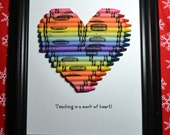 Crayon Heart Framed Teacher Gift - Can be personalized!